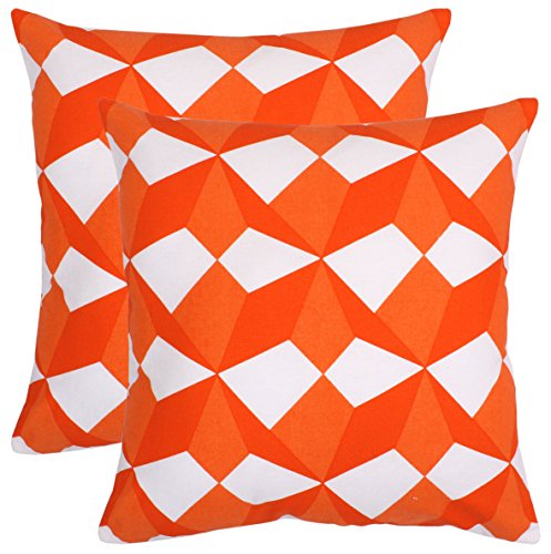 Bath Bed Decor Pack of 2 Accent Decorative Throw Pillow Covers Cushion Cases Cushion Covers Pillowcases in Cotton Canvas with Hidden Zipper Slipcovers for Couch Sofa Bed (18 x 18 Inches;Orange) ()