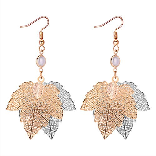 Earrings Harajuku Personality Simulation Metal Maple Leaf Earrings Female Exaggerated Two-color Hollow