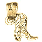 18K Yellow Gold 3D Cowboy Boot Pendant - 13 mm