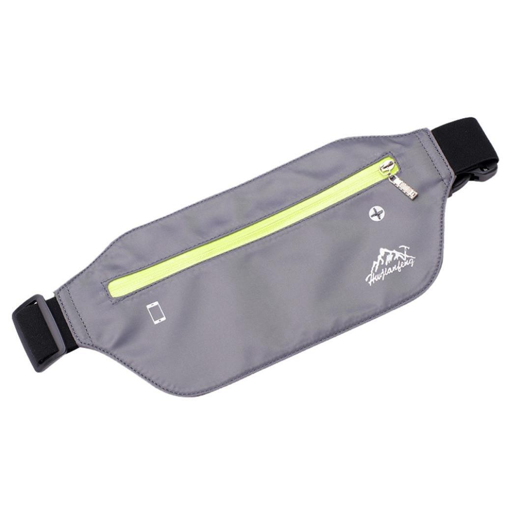 Inkach Waist Pack Bags - Womens Outdoor Sport Running Fanny Packs with Headphone Hole Belly Waist Hip Packs (Gray)