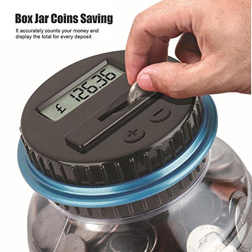 Clearance Sale!DEESEE(TM)Clear Digital Piggy Bank Coin Savings Counter LCD Counting Money Jar Change Gift (A) -