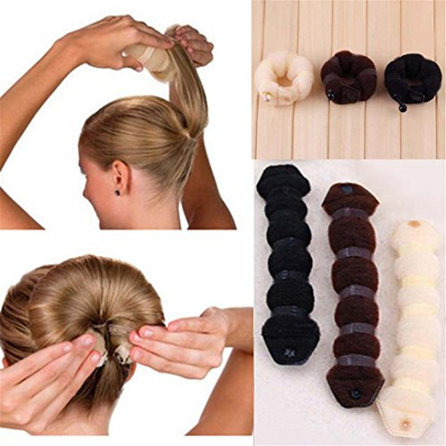 2 Pcs/Set DIY Donut Hair French Dish Made Synthetic Wig Donuts Bud Hair Band Ball Tool Black by HAHUHERT (Image #2)