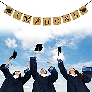 Graduation Party Supplies, Konsait IM DONE Banner Graduation Party Banner IM DONE graduation banner Bunting Garland Congratulations Sign for Graduation Party by Konsait