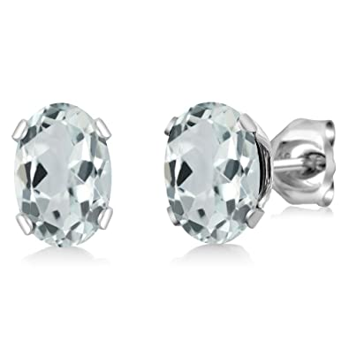 99fa00ded Amazon.com: Gem Stone King 925 Sterling Silver Sky Aquamarine Stud Earrings  (1.44 Cttw, Gemstone Birthstone 7X5MM Oval): Jewelry