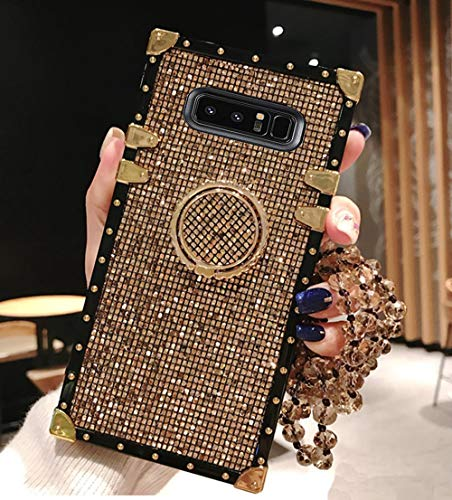 Compatible for Samsung Galaxy Note 8 Case,Babemall Elegant Premium Bling Square Protective Shock Absorption Metal Decoration Corner Back Case with Crystal Strap (Gold)