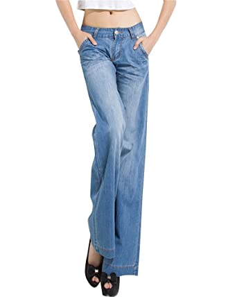 512717f087b ZongSen Plus Size Women¡¯s 60s 70s Bell Bottoms Wide Flared Faded Jeans  Light Blue 34  Amazon.co.uk  Clothing