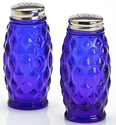 Salt & Pepper Shaker Set - Elizabeth Pattern - Cobalt Blue - Mosser Glass - American - Blue Salt And Pepper