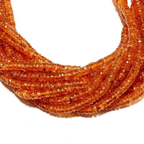GemAbyss Beads Gemstone Spessartine Garnet Beads, Microfaceted Orange Garnet, Mandarin Garnet Rondelles, 4mm to 6mm Each, 17 Inch Strand Code-MVG-49081