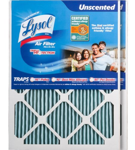 Lysol Triple Protection Furnace/AC Air Filter, 16 x 20 x 1, by Lysol