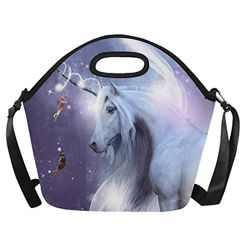 JUCHen Large Insulated Lunch Tote Bag Majestic Unicorn Funny Fairy Reusable Neoprene, Purple Flowers Floral Portable Lunchbox Handbag with Shoulder Strap