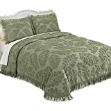 Collections Etc Textured Fern Leaf Chenille Bedspread, Full, Sage