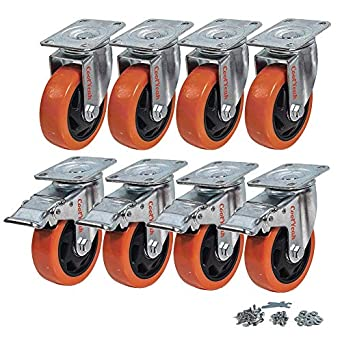 Premium Casters Pack Of 8, 4 CoolYeah 2 Inch Swivel Plate PVC Caster Wheels