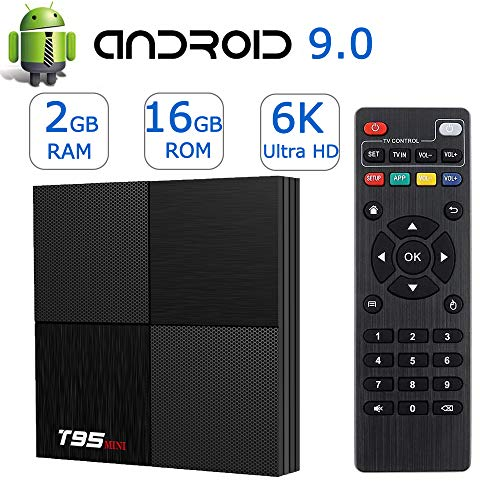 Android TV Box Android 9.0,Smart TV boxes 2GB Ram 16GB ROM H6 Quad-Core 6K Ultra HD 2.4G WiFi H.265 Decoding 3D T95MINI Internet Media Player (Internet Tv Android)