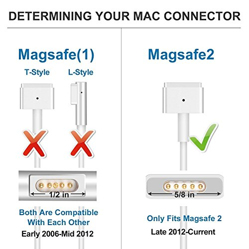 MITIME Compatible With MacBook Pro Charger 85W Mag Safe 2 T-Tip Power Adapter, Charger for MacBook Pro Retina 13''15''17'' and MacBook Air 11''13''-Mid 2012 to Mid 2015 Mac Models-Work with 45W, 60W & 85W by MITIME (Image #6)