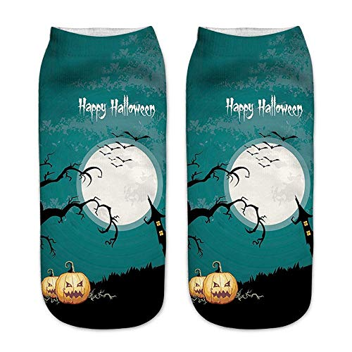 Joint Happy Halloween Socks, Halloween Gift, Women Or Kids Size, Casual 3D Pumpkin Printing Medium Sports Socks (E)