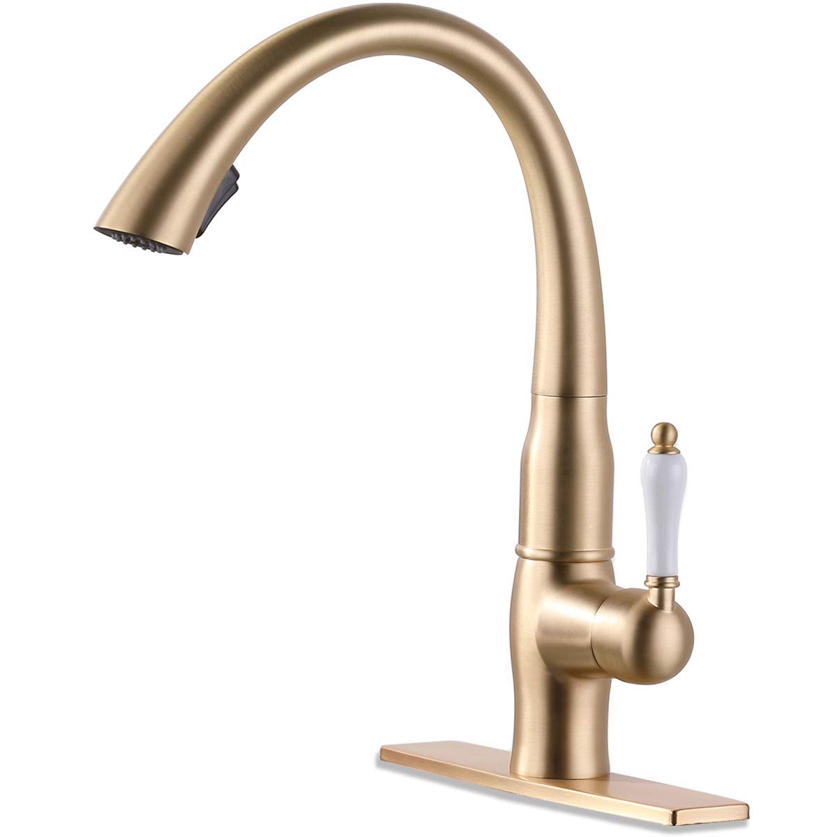 GAPPO Pull Down Kitchen Faucet with Sprayer Single Handle Brass Kitchen Sink Faucets Brushed Gold