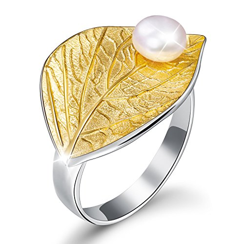 Lotus Fun S925 Sterling Silver Rings Autumn Leaf Open Ring with Natural Freshwater Pearl Handmade Jewelry Unique Gift for Women and Girls (Gold)