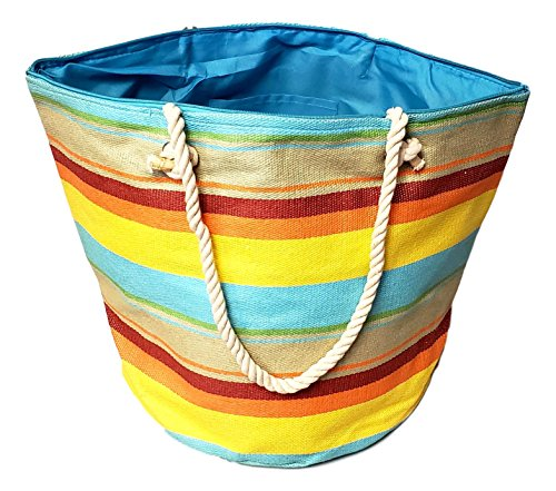 XL Hobo Bucket Striped Summer Womens Beach Bag Tote with Zipper Top (Sunset Stripe) by 101 BEACH (Image #2)