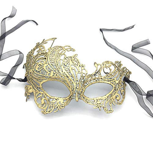 iMapo Masquerade Masks, Women's Sexy Lace Venetian Style Eye Mask for Opera Halloween Dancing Evening Party Costume Ball - Phoenix (Vintage Gold) ()