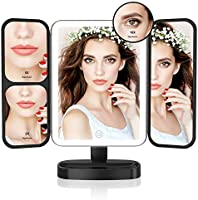 Easehold Makeup Mirror, Tri-Fold Vanity Mirror with 21Pcs Led Light 180 Degree Free Cosmetic Mirror with 3X 2X Magnification (Rose Gold)