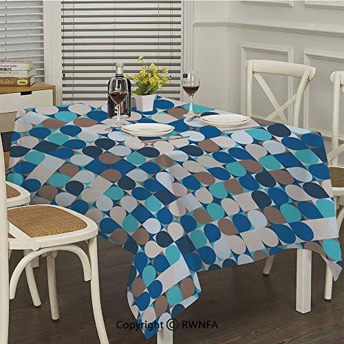 RWNFA Custom Tablecloth,Circles in Squares Mosaic Pattern Pastel Colors Modern Geometric Tile Illustration(50