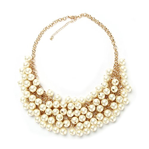 - MeliMe Womens Imitation Pearl Twisty Chunky Bib Necklace Chokers for Wedding Party (Style 03)