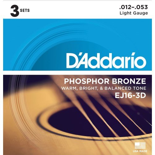 (D'Addario EJ16 Phosphor Bronze Light Acoustic Strings 3-Pack)