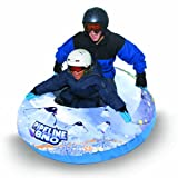 """Aqua Leisure-Domestic Toys Winter Inflatable Round Pipeline Transparent Penguin Snow Long Body Tube Sled for 2 ( Two ) Riders on Sledding Hill, Fast yet Durable, with 4 ( Four ) Big Durable Grip Handles and Repair Kit, Clear/White/Blue, 50"""""""