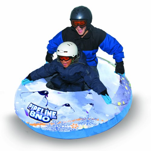 Aqua Leisure-Domestic Toys Winter Inflatable Round Pipeline Transparent Penguin Snow Long Body Tube Sled for 2 ( Two ) Riders on Sledding Hill Fast yet Durable with 4 ( Four ) Big Durable Grip Handles and Repair Kit ClearWhiteBlue 50