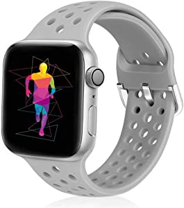 Runostrich Sport Band Compatible with Apple Watch Band 44mm 42mm, Soft Silicone Replacement Breathable Strap Compatible iWatch SE Series 6 5 4 3 2 1 for Women Men (Grey, 42mm/44mm)