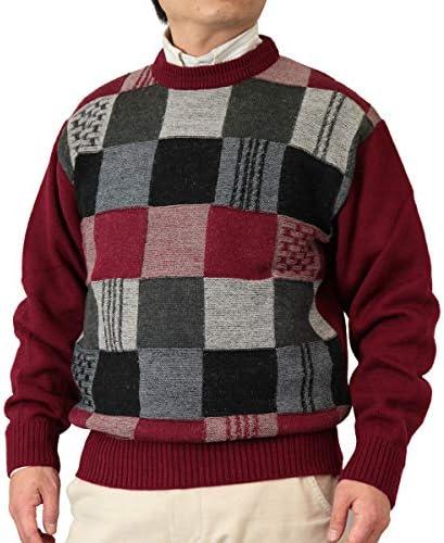 【Aspetiva】【3色:S/M/L/LL】ウール100% 7ゲージ 格子柄 クルーネックセーター 紳士/日本製(3084)