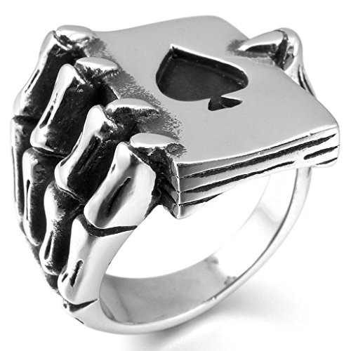 Gnzoe Jewelry, Stainless Steel Mens Rings Silver Black Ace of Spades Poker Card Skull Hand Gothic Size 8 (Cheap Vancouver Curtains)