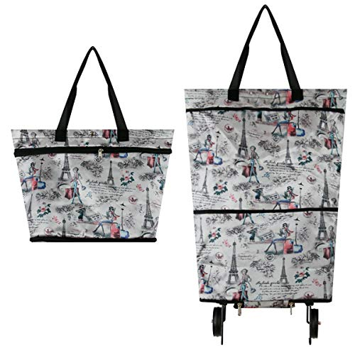 (YOULIAN Shopping Bags with Wheels Two-stage zipper Foldable Shopping Cart Picnic Travel Bags Waterproof Processing Reusable)