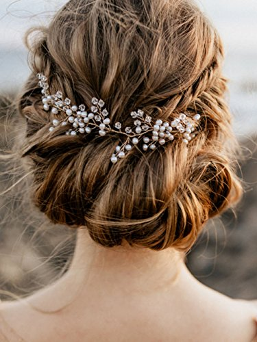 Price comparison product image FXmimior Bridal Wedding Hair Vine Crystals Leaf Headband Tiara Wedding Party Evening Hair Accessory (Gold)