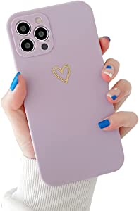 Ownest Compatible with iPhone 12 Pro Max Case for Soft Liquid Silicone Gold Heart Pattern Slim Protective Shockproof Case for Women Girls for iPhone 12 Pro Max-Purple