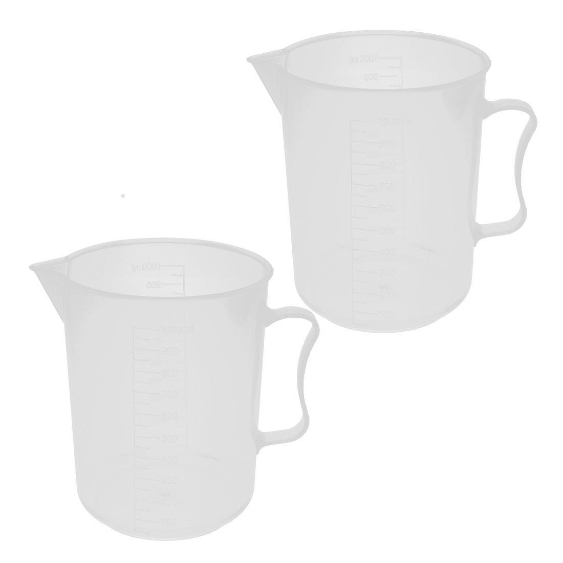 uxcell/® Plastic Kitchen Lab Measuring Cup Jug Pour Spout Container 1000mL 2pcs