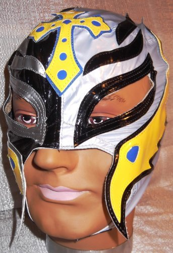 [WWE REY MYSTERIO Licensed Black / Silver w/ Yellow Trim Youth Size Replica MASK] (Wwe Girl Costumes)