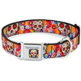 Buckle-Down DC-WTY008-WS Dog Collar Seatbelt Buckle Sugar Skull Starburst White/MultiColor 1.5 by 13-18