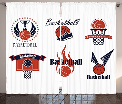Ambesonne Sports Decor Collection, Icons and Symbols with Wings Flaming Ball Shoes Ring Trophy Cup Design Pattern, Living Room Bedroom Curtain 2 Panels Set, 108 X 84 Inches, Navy Blue Orange
