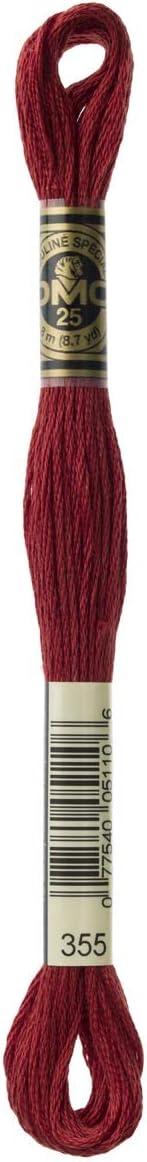DMC 117-355 Mouline Stranded Cotton Six Strand Embroidery Floss Thread Dark Terra Cotta 8.7-Yard