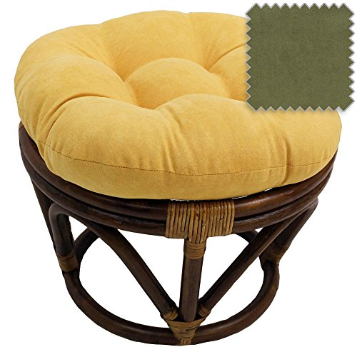 18-Inch Bali Rattan Papasan Footstool with Cushion - Solid Microsuede Fabric, Sage - DCG Stores Exclusive Papasan Footstool