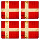 MSD Square Coasters Danish flag with a vintage and old look Image 15612737 by MSD Customized Tablemats Stain Resistance Collector Kit Kitchen Table Top DeskDrink Customized Stain Resistance Collector