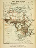 Historic 1899 Map | Slave trade of Africa. | AfricaAntique Vintage Map Reproduction