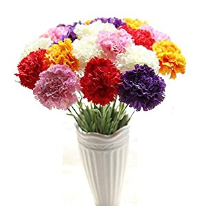 LySanSan - 10PCS Artificial Carnation Flower Home Decoration Simulation Silk Artificial Flowers Mother Festival Day for Home Decor 91