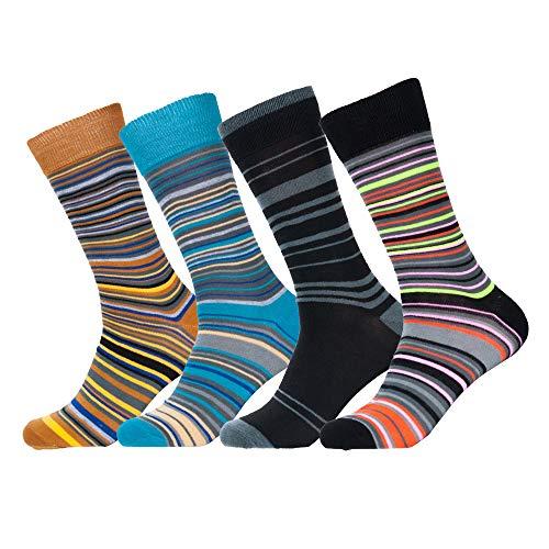 Melvado Mens Funky Colorful Dress Socks 4-Pair Cotton Rich Everyday Crew Socks Set