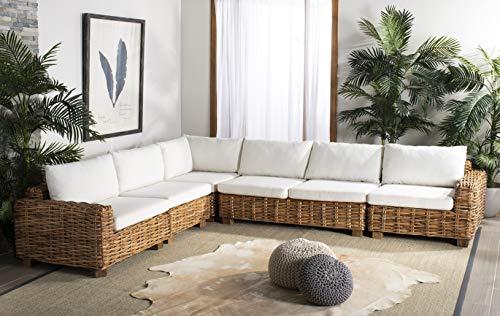 Malibu Sectional Sofa - Safavieh CWK1003A Home Collection Malibu Wicker 5 Piece Sectional Natural/Beige