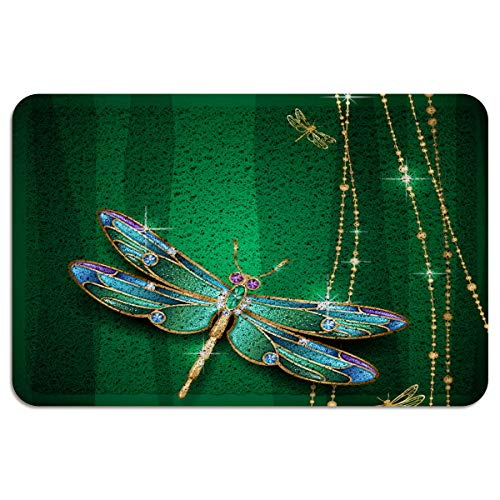 JasmineM PVC Doormat Wire Loop Elegant Dragonfly Jewelry Shine Welcome Non Slip Entrance Door Mats Home Kitchen Bathroom Rug Indoor Outdoor Area Runner Shoe Scraper - 2'x3'
