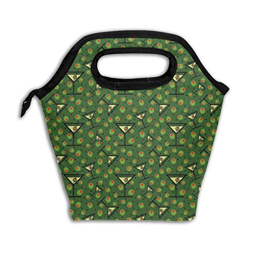 - Martinis and Olives Pattern Reusable Insulated Lunch Bag Cooler Tote Box with Zipper Closure for Woman Man Work Pinic Or Travel