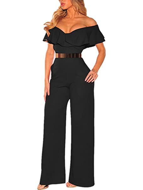 19ef39f33bdf Amazon.com  Xuan2Xuan3 Women Off Shoulder Jumpsuit Sleeveless Sexy  Strapless Wide Leg Long Pant Ruffle One Piece Jumpsuit Romper  Clothing