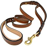 #5: Soft Touch Collars, 6 Foot Braided Leather Dog Leash with Traffic Handle, Two Handles for Training and Safety, Double your Control with 2 Locations, Lead for Large and Medium Dogs Brown 6ft x 3/4 Inch